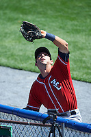 New Hampshire Fisher Cats third baseman Jason Leblebijian (8) catches a foul ball along the fence during a game against the Reading Fightin Phils on June 6, 2016 at FirstEnergy Stadium in Reading, Pennsylvania.  Reading defeated New Hampshire 2-1.  (Mike Janes/Four Seam Images)