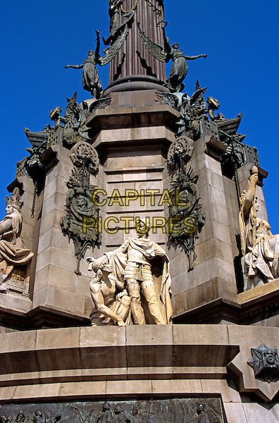 Monument a Colom, Christopher Columbus Monument, statues on monument, La Rambla, Barcelona, Spain