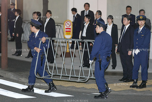 Police officers restraint the access to the teppanyaki restaurant Ukai-tei in Ginza on November 5, 2017, Tokyo, Japan. US President Donald Trump and Japan's Prime Minister Shinzo Abe enjoyed dinner in Tokyo after playing golf in the afternoon. Japan is the first stop on his five-nation tour in Asia. (Photo by Rodrigo Reyes Marin/AFLO)