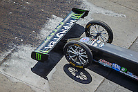 Aug 21, 2016; Brainerd, MN, USA; Detailed view of the front wing and wheels on the dragster of NHRA top fuel driver Brittany Force during the Lucas Oil Nationals at Brainerd International Raceway. Mandatory Credit: Mark J. Rebilas-USA TODAY Sports