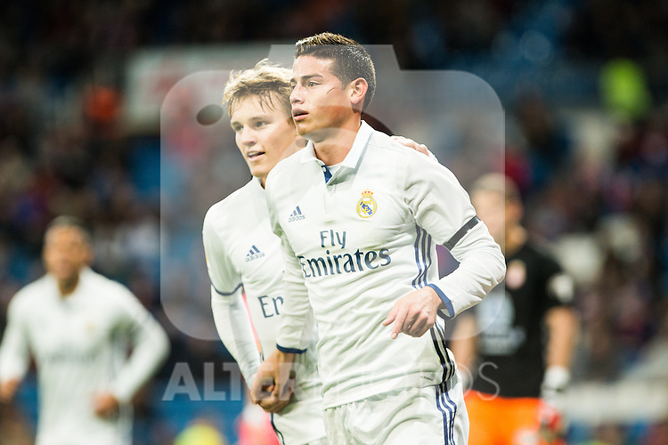 "Real Madrid's Martin Odegaard,  James Rodriguez during the match of ""Copa del Rey"" between Real Madrid and Cultural Leonesa at Santiago Bernabeu Stadium in Madrid, Spain. November 29, 2016. (ALTERPHOTOS/Rodrigo Jimenez)"