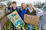 Martin Vladev, Louie Tobin Moynihan and Rachel O'Carroll, Mercy Mounthawk students at their peaceful protest on Climate Change in Rathass on Friday.