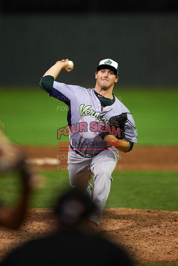 Vermont Lake Monsters pitcher John Gorman (22) delivers a pitch during the second game of a doubleheader against the Batavia Muckdogs August 11, 2015 at Dwyer Stadium in Batavia, New York.  Batavia defeated Vermont 1-0.  (Mike Janes/Four Seam Images)