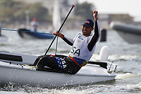 RIO DE JANEIRO, BRAZIL - AUGUST 16:  Caleb Paine of the United States celebrates winning the bronze medal in the Finn class on Day 11 of the Rio 2016 Olympic Games at the Marina da Gloria on August 16, 2016 in Rio de Janeiro, Brazil.  (Photo by Clive Mason/Getty Images)