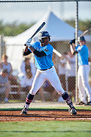 Jason Hodges during the WWBA World Championship at the Roger Dean Complex on October 19, 2018 in Jupiter, Florida.  Jason Hodges is an outfielder from Park Forest, Illinois who attends Marist High School and is committed to Arkansas.  (Mike Janes/Four Seam Images)