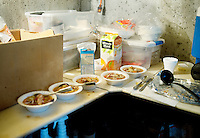 Chicken soup is served and ready to eat during duck hunting in a blind owned by Lynn Berggren (cq) just off the duck-rich Platte River in Nebraska, Saturday, December 3, 2011...Photo by Matt Nager