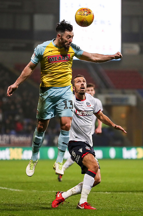 Bolton Wanderers' Gary O'Neil putting Rotherham United's Richie Towell under pressure<br /> <br /> Photographer Andrew Kearns/CameraSport<br /> <br /> The EFL Sky Bet Championship - Bolton Wanderers v Rotherham United - Wednesday 26th December 2018 - University of Bolton Stadium - Bolton<br /> <br /> World Copyright © 2018 CameraSport. All rights reserved. 43 Linden Ave. Countesthorpe. Leicester. England. LE8 5PG - Tel: +44 (0) 116 277 4147 - admin@camerasport.com - www.camerasport.com