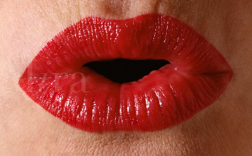 Red lpursed lips.