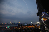 BROOKLYN, NY - JUL 16: The band Weezer performs at the Williamsburg Waterfront as part of the summer concert series at the East River Park on Friday, July, 16, 2010, in Brooklyn, NY. (Photo by Landon Nordeman)