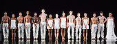 """Rambert Dance Company perform the new pice """"Labyrinth of Love"""" by choreographer Marguerite Donlon at Sadler's Wells Theatre, London. Music by Michael Daugherty, visual imagery by Mat Collishaw."""