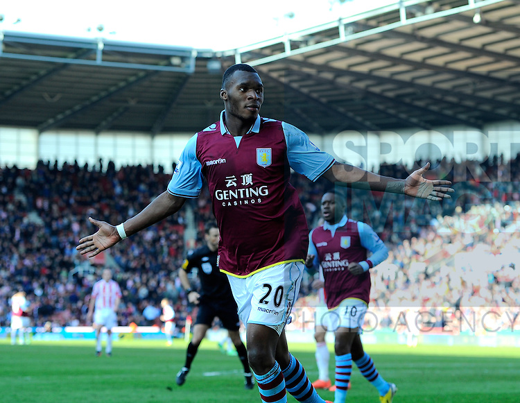 Christian Benteke of Aston Villa celebrates scoring the third goal - Barclays Premier League - Stoke City vs Aston Villa - Britannia Stadium - Stoke on Trent - England  - 06/04/13 - Picture Simon Bellis/Sportimage