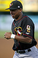 August 16 2008:  Adron Chambers (24) of the Quad Cities River Bandits, Class-A affiliate of the St. Louis Cardinals, during a game at Pohlman Field in Beloit, WI.  Photo by:  Mike Janes/Four Seam Images