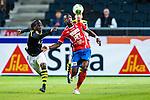 Solna 2013-09-30 Fotboll Allsvenskan AIK - &Ouml;sters IF :  <br /> &Ouml;ster 23 Alhaji Gero  i kamp om bollen med AIK 9 Martin Kayongo Mutumba <br /> (Foto: Kenta J&ouml;nsson) Nyckelord: