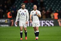 Elliot Daly and Dan Robson of England look on after the match. Guinness Six Nations match between England and Italy on March 9, 2019 at Twickenham Stadium in London, England. Photo by: Patrick Khachfe / Onside Images