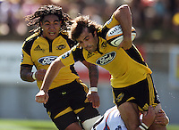 Hurricanes centre Conrad Smith is tackled with Ma'a Nonu in support..Super 14 rugby union match, Hurricanes v Cheetahs at Yarrows Stadium, New Plymouth, New Zealand. Saturday 7 March 2009. Photo: Dave Lintott / lintottphoto.co.nz