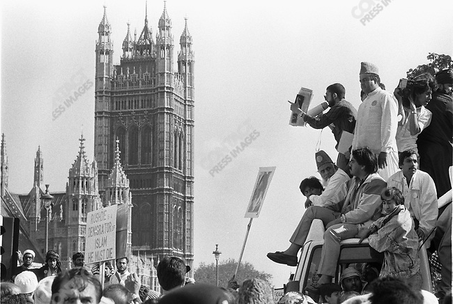 "Islamist demonstration against writer Salman RUSHDIE, after the publication of his book ""The Satanic Verses "",  London, UK, May 1989"