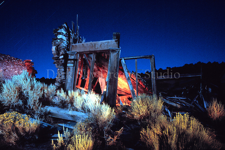 Ruins of the Cosmopolitan Saloon in the ghost town of Belmont, Nevada