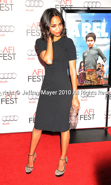 """HOLLYWOOD, CA. - November 07: Zoe Saldana arrives to the AFI Fest 2010 Screening Of """"Abel"""" at Grauman's Chinese Theatre on November 7, 2010 in Hollywood, California."""