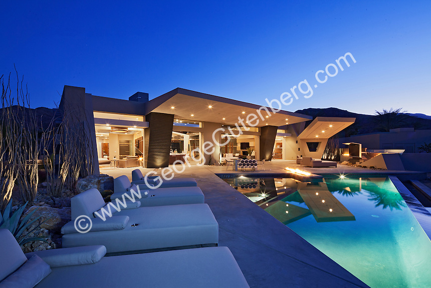 Luxury ultra modern design home by Brian Foster Designs in Rancho Mirage, California Stock image of residential swimming pool Twilight shot of residential swimming pool