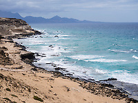 Spain, ESP, Canary Islands, Fuerteventura, Istmo de La Pared, 2012Oct13: The rocky west coast of Fuerteventura at Agua Liques, Istmo de La Pared.