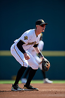 Bradenton Marauders third baseman Michael Gretler (10) during a Florida State League game against the Charlotte Stone Crabs on April 10, 2019 at LECOM Park in Bradenton, Florida.  Bradenton defeated Charlotte 2-1.  (Mike Janes/Four Seam Images)