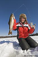 Ice fishing splake in the winter