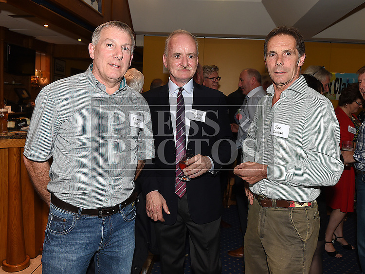 Tom Kirk, Maurice Tynan and Joe Callan at the Ardee CS Leaving Cert Class of 1976 reunion in Ardee Golf Club. . Photo:Colin Bell/pressphotos.ie