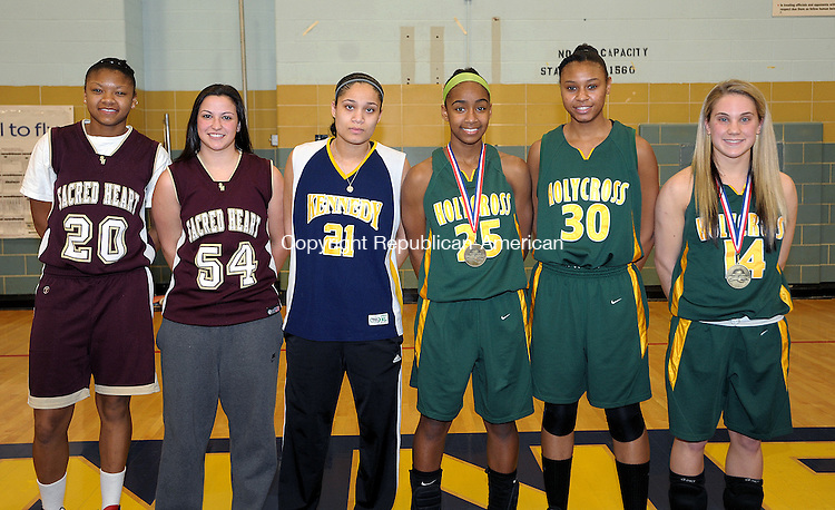 WATERBURY,  CT, 20 FEBRUARY  2012-022012JS23-Members of the All City NVL Team, from left, Mikyla  Jacobs, Sacred Heart; Jenna LoRusso, Sacred Heart; Stephanie Lush, Kennedy; Briana Bradford, Holy Cross; Danielle Dorsett, Holy Cross and Angelica Ariola, Holy Cross..Jim Shannon Republican-American