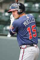 Outfielder Tony Mueller (15) of the Rome Braves, an Atlanta Braves affiliate, in a game against the Greenville Drive on May 6, 2012, at Fluor Field at the West End in Greenville, South Carolina. Greenville won, 11-3. (Tom Priddy/Four Seam Images)