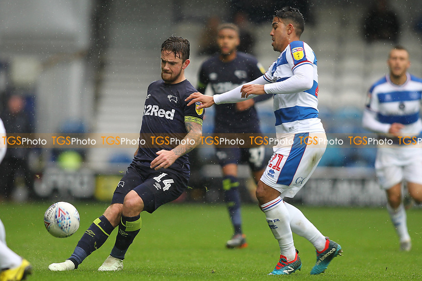 Jack Marriott of Derby County and Massimo Luongo of Queens Park Rangers during Queens Park Rangers vs Derby County, Sky Bet EFL Championship Football at Loftus Road Stadium on 6th October 2018