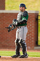 Manhattan Jaspers catcher Ramon Ortega #31 on defense against the High Point Panthers at Willard Stadium on March 9, 2012 in High Point, North Carolina.  The Panthers defeated the Jaspers 11-6.  (Brian Westerholt/Four Seam Images)