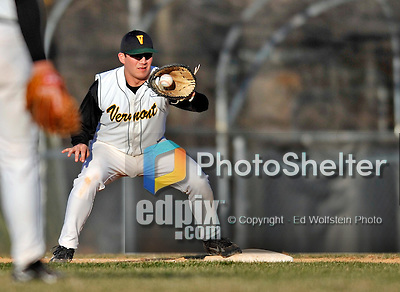 15 April 2008: University of Vermont Catamounts' first baseman Kyle Henry, a Senior from Brattleboro, VT, in action against the Dartmouth College Big Green at Historic Centennial Field in Burlington, Vermont. The Catamounts rallied from a 7-3 deficit going into the bottom of the ninth, to tie and then win in the tenth: 8-7 over Dartmouth in a non-conference NCAA game...Mandatory Photo Credit: Ed Wolfstein Photo