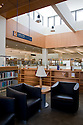 The new San Mateo Public Library opened in 2006. The 90,000 sq. ft. library integrates significant green building practices and is positioned to obtain LEED Silver certification, or possibly even Gold. Green features include extensive daylighting, efficient underfloor air supply, venting windows,  low VOC materials, and native plant landscaping, and much more. Photo available in high resolution (4368 x 2912 pixels).
