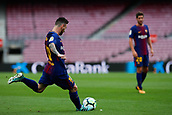 1st October 2017, Camp Nou, Barcelona, Spain; La Liga football, Barcelona versus Las Palmas; Leo Messi of FC Barcelona takes a free kick as the game is played behind closed doors due to the riots in Barcelona during the Catlaonio referendum