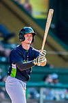 16 July 2017: Vermont Lake Monsters infielder Will Toffey, a 4th round draft pick for the Oakland Athletics, takes a swing on deck during a game against the Auburn Doubledays at Centennial Field in Burlington, Vermont. The Monsters defeated the Doubledays 6-3 in NY Penn League action. Mandatory Credit: Ed Wolfstein Photo *** RAW (NEF) Image File Available ***
