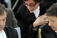 L'Aquila. la seconda udienza del processo alla commissione grandi rischi. 1°ottobre 2011. gli avvocati  Filippo Dinacci, difensore di Bernardo De Bernardinis, già vice capo del settore tecnico del dipartimento di Protezione Civile e di Dolce direttore dell'ufficio rischio sismico di Protezione civile,  Alessandra Stefano, difensore di Gian Michele Calvi, direttore di Eucentre e responsabile del progetto  Case  e Francesco Petrelli, difensore di Franco Barberi , presidente vicario della Commissione Grandi Rischi.