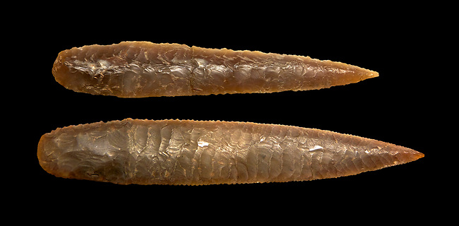 Brown obsidian dagger blades. Catalhoyuk Collections. Museum of Anatolian Civilisations, Ankara. Against a black background