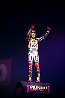 2nd February 2020; Palau Sant Jordi, Barcelona, Catalonia, Spain; X Trial Mountain Biking Championships; Adam Raga (Spain) of the TRRS Team applauds the fans during the X Trial indoor Barcelona