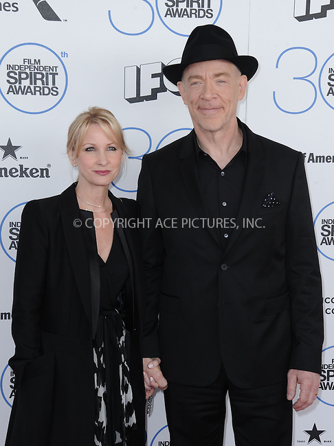 WWW.ACEPIXS.COM<br /> <br /> February 21 2015, LA<br /> <br />  J.K. Simmons (R) arriving at the 2015 Film Independent Spirit Awards at Santa Monica Beach on February 21, 2015 in Santa Monica, California.<br /> <br /> By Line: Peter West/ACE Pictures<br /> <br /> <br /> ACE Pictures, Inc.<br /> tel: 646 769 0430<br /> Email: info@acepixs.com<br /> www.acepixs.com