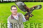 Eric Witkowski with his 6 month old Harrier Hawk from the Kingdom Falconry at Crag Caves Castleisland