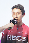2019 Tour de France Champion Egan Bernal (COL) Team Ineos at sign on before the 2019 Clasica Ciclista San Sebastian, running 227.3km starting and finishing in Donostia-San Sebastián, Spain. 3rd August 2019.<br /> Picture: Colin Flockton | Cyclefile<br /> All photos usage must carry mandatory copyright credit (© Cyclefile | Colin Flockton)