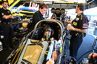 Sept. 22, 2012; Ennis, TX, USA: NHRA crew members for top fuel dragster driver Morgan Lucas during qualifying for the Fall Nationals at the Texas Motorplex. Mandatory Credit: Mark J. Rebilas-