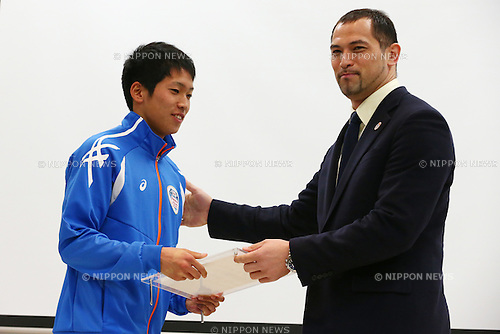 (L-R)<br /> Takamasa Kitagawa,<br /> Koji Murofushi,<br /> JANUARY 9, 2015 - Athletic : <br /> Certification ceremony of Diamond athletes is held at Ajinomoto National Training Center, Tokyo, Japan.<br /> Diamond athletes is players who would play an active part in Tokyo Olympic 2020.<br /> (Photo by Shingo Ito/AFLO SPORT) [1195]