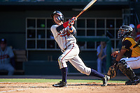 Mississippi Braves shortstop Dansby Swanson (36) at bat in front of catcher Francisco Arcia during a game against the Jacksonville Suns on May 1, 2016 at The Baseball Grounds in Jacksonville, Florida.  Jacksonville defeated Mississippi 3-1.  (Mike Janes/Four Seam Images)