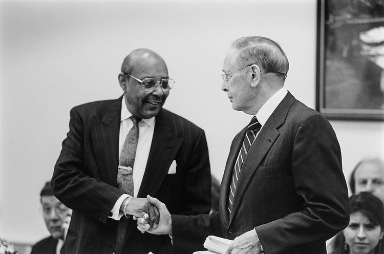 Rep. Louis Stokes, D-Ohio, greets Rep. Tom Bevill, D-Ala., before an Appropriations meeting on June 10, 1993. (Photo by Chris Martin/CQ Roll Call)