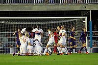 28th March 2018, Mini Estad, Barcelona, Spain; Womens Champions League football, quarter final, 2nd leg, Barcelona Women versus Lyon Women; Lyon players celebrating their goal for 1-0