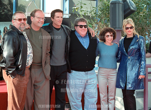 "10NOV99: Former ""Cheers"" stars JOHN RATZENBERGER (left), KELSEY GRAMMER, TED DANSON, GEORGE WENDT, RHEA PERLMAN and KIRSTIE ALLEY on Hollywood Blvd where Danson was honored with the 2,148th star on the Hollywood Walk of Fame today. .© Paul Smith / Featureflash"