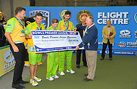 The Hawks are presented with a cheque for $25,000 after winning the Bowls Premier League final between the Gold Coast Hawks and Brisbane Pirates at Naenae Bowling Club in Wellington, New Zealand on Thursday, 26 April 2018. Photo: Dave Lintott / lintottphoto.co.nz