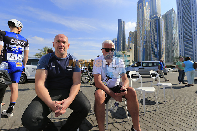Patrick Lefevere cycling manager of the Etixx&ndash;Quick-Step team relaxes before the start of Stage 1, the Dubai Silicon Oasis Stage, of the 2016 Dubai Tour starting at the Dubai International Marine Club and running 175km to Fujairah, Mina Seyahi, Dubai, United Arab Emirates. 3rd February 2016.<br /> Picture: Eoin Clarke | Newsfile<br /> <br /> <br /> All photos usage must carry mandatory copyright credit (&copy; Newsfile | Eoin Clarke)
