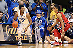 02 November 2013: Duke's Quinn Cook (2) and Drury's Kameron Bundy (3). The Duke University Blue Devils played the Drury University Panthers in a men's college basketball exhibition game at Cameron Indoor Stadium in Durham, North Carolina. Duke won the game 81-65.